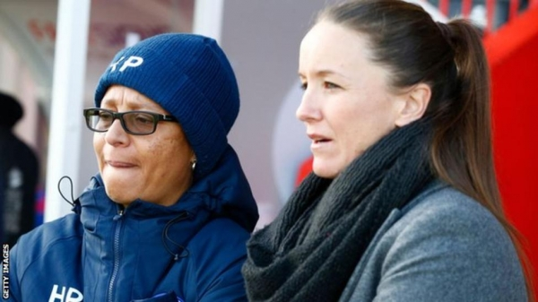 Hope Powell and Casey Stoney