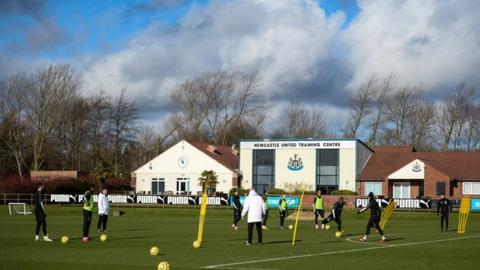 A general shot of Newcastle players training at the club's training ground