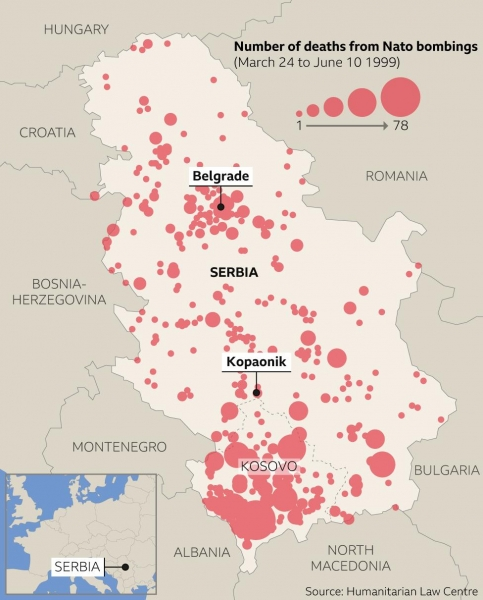 Map of Nato bombings during the Kosovo War