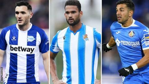 (From left to right) Lucas Perez, Angel Rodriguez and Willian Jose have all been linked with a move to Barcelona