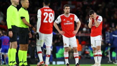 Arsenal players looking unhappy