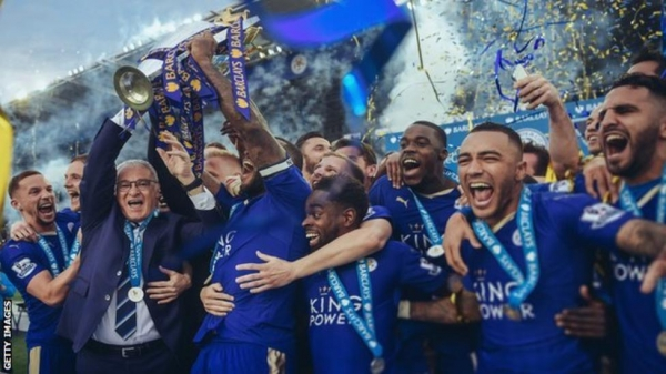 Leicester City lift the Premier League title in 2016