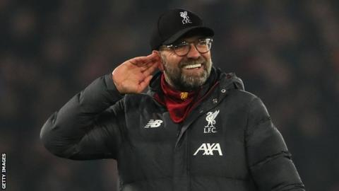 Jurgen Klopp celebrates after Liverpool's win against Manchester United