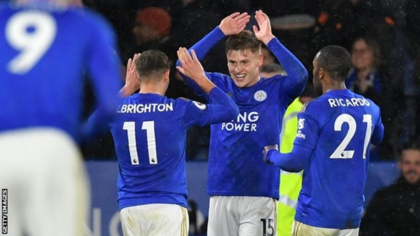 Harvey Barnes celebrates after scoring for Leicester against Aston Villa