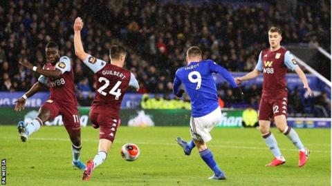 Jamie Vardy scores his second goal for Leicester City against Aston Villa on Monday
