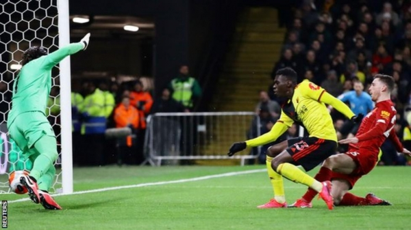 Ismalia Sarr scores for Watford against Liverpool