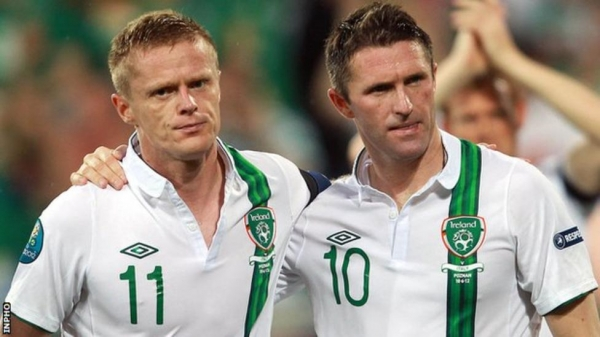 Damien Duff and Robbie Keane together after the Republic of Ireland's defeat by Italy at Euro 2012