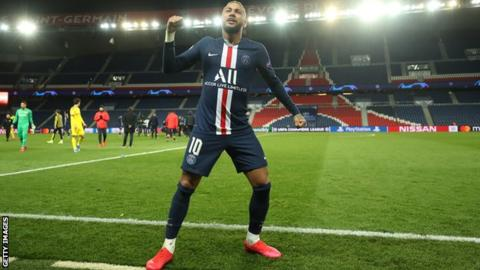 Neymar celebrates after Paris St Germain beat Borussia Dortmund in March in a Champions League tie held behind closed doors due to the coronavirus
