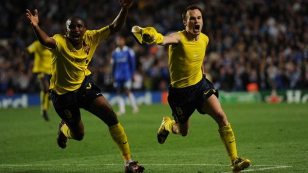 Andres Iniesta celebrates his match winner against Chelsea