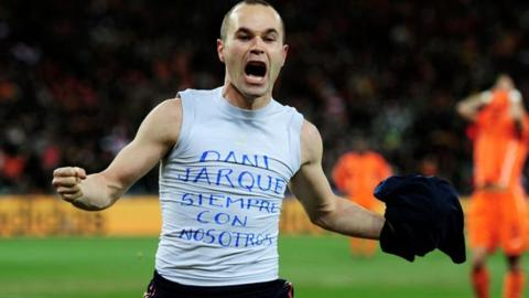 Andres Iniesta dedicates his 2010 World Cup-winning goal to his late friend, Espanyol's Dani Jarque