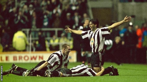 Philippe Albert celebrates scoring against Manchester United in 1996
