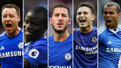Former Chelsea players John Terry, Ngolo Kante and Eden Hazard