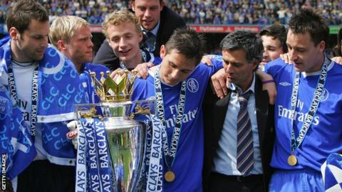 Chelsea celebrate with Premier League title in 2005