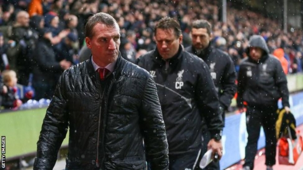 Then Liverpool boss Brendan Rodgers at Selhurst Park in 2014