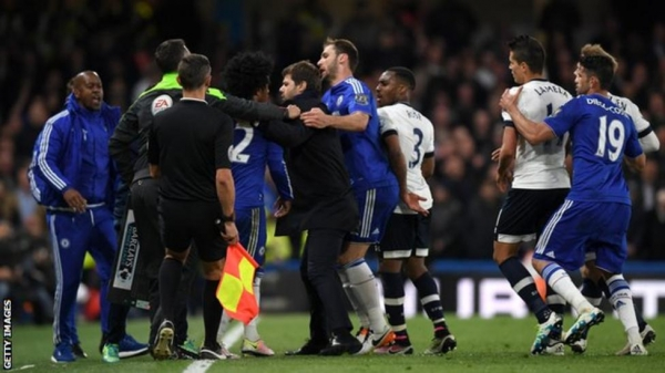 Tottenham and Chelsea players clash in 2016