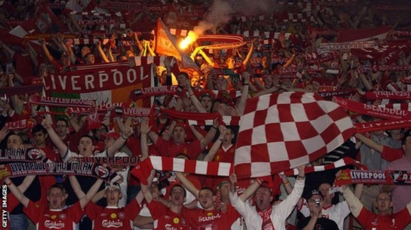 Liverpool fans at the 2005 Champions League final