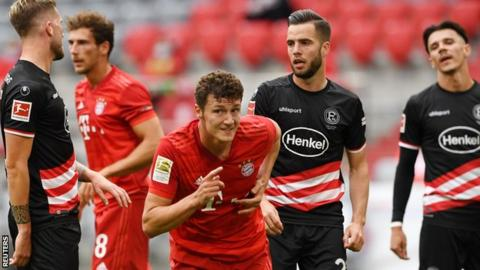 Bayern Munich defender Benjamin Pavard (centre) has scored two goals in four games since the Bundesliga season resumed earlier this month