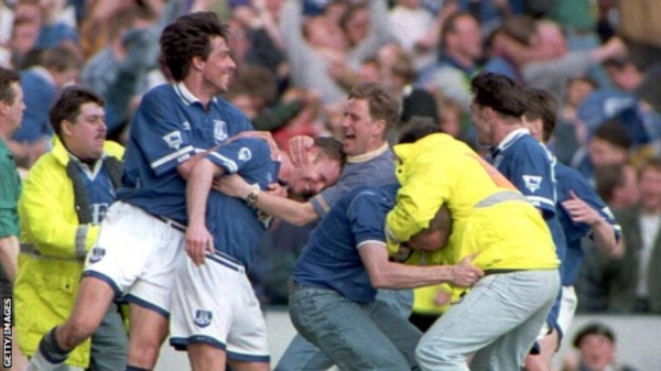 Everton players celebrate during their 3-2 win over Wimbledon in 1994