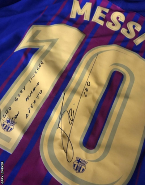 A signed Lionel Messi Barcelona shirt - a gift to Lineker from Fabregas