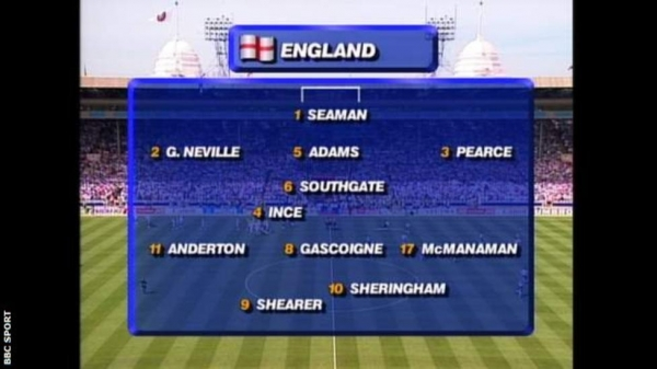 Snapshot showing the England team vs Scotland at Euro 96: Seaman; Neville, Adams, Pearce; Southgate; Ince; Anderton, Gascoigne, McManaman; Sheringham, Shearer