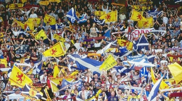 Scotland fans had travelled in numbers to Wembley to face England at Euro 96