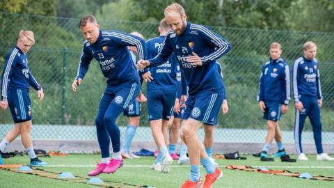 Djurgardens midfield duo Curtis Edwards and Fredrik Ulvestad
